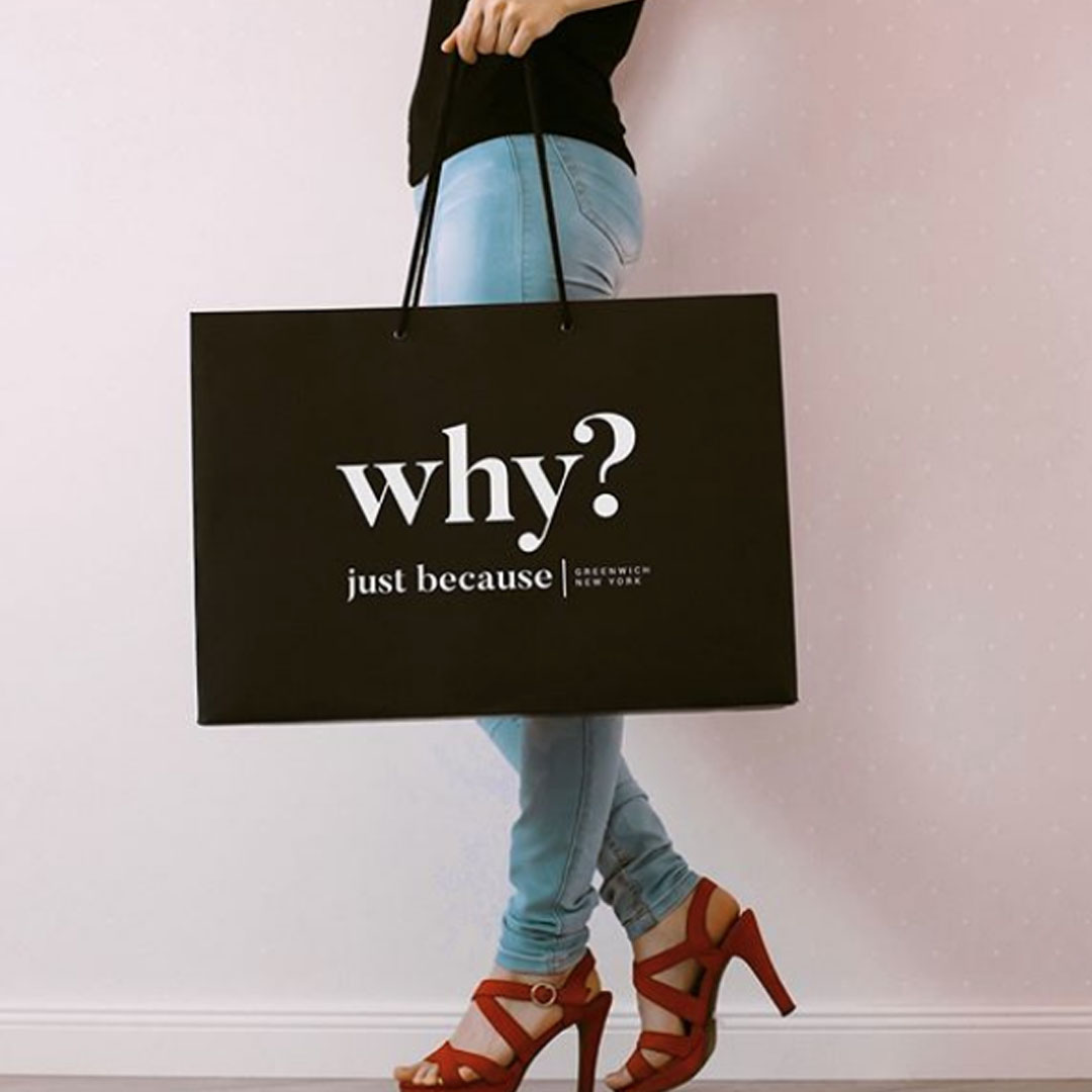 just because boutique shopping bag